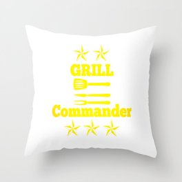 Grill BBQ Dad Barbecue Cook Gift grill Throw Pillow