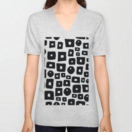 Geometrical hand painted black white squares circles Unisex V-Neck