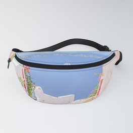 Santorini Greece Mamma Mia pink street travel photography Fanny Pack