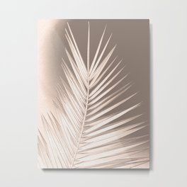 Palm leaf print, neutral pastel colors, chalk effect Metal Print