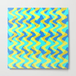 Crosswave Yellow - Electron Series 001 Metal Print