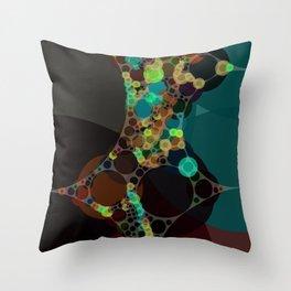 mylene - deep rich jewel tones emerald teal turquoise plum coffee abstract Throw Pillow