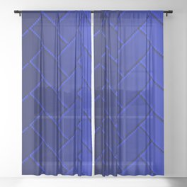 Herringbone Gradient Dark Blue Sheer Curtain