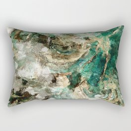 Teal Contemporary and Abstract Painting Rectangular Pillow