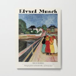 Vintage poster-Edvard Munch -Girls on the bridge. Metal Print