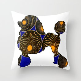 Blue and Gold African Print Poodle Throw Pillow