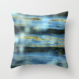 Water Surface Texture 2 blue and gold Throw Pillow