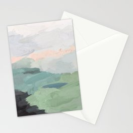 Seafoam Green Mint Black Blush Pink Abstract Nature Land Art Painting Stationery Cards