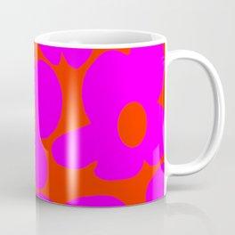 Pink Retro Flowers Orange Red Background #decor #society6 #buyart Coffee Mug