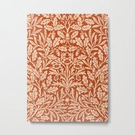 Art Nouveau Floral Damask, Light Mandarin Orange Metal Print