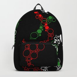 Red Green and White Abstract Circle Bubbles Backpack