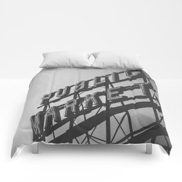 Seattle Pike Place Public Market Black and White Comforters