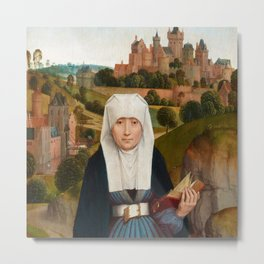 """Hans Memling""""Old Woman at Prayer with St. Anne"""" Metal Print"""
