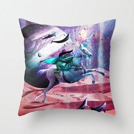 Epic Frog Riding Unicorn Throw Pillow