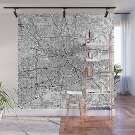 Houston White Map Wall Mural