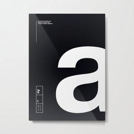 Helvetica Alphabet: Vowels Aa Metal Print