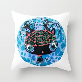 Black Cat with Buff Coolnet Big head cat round circle painting Throw Pillow