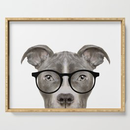 Pit bull with glasses Dog illustration original painting print Serving Tray