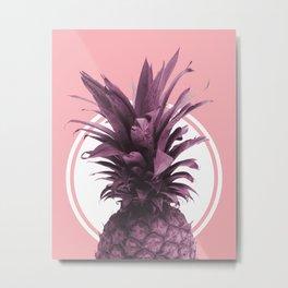 Pineapple Print - Tropical Wall Art - Botanical Print - Pineapple Poster - Purple - Minimal, Modern Metal Print