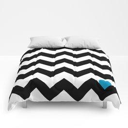 Heart & Chevron - Black/Blue Comforters
