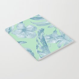 Tropical Leaves and Flowers Luxe Pastel Sea Turquoise Blue Green Notebook
