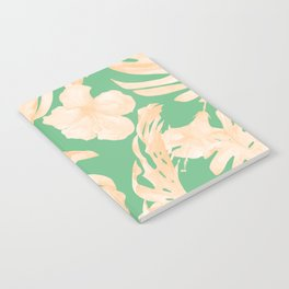 Tropical Palm Leaves Monstera and Hibiscus Jungle Green Coral Peach Notebook