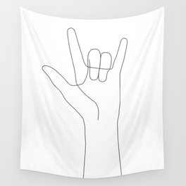 Love Hand Gesture Wall Tapestry