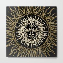 Sun Moon Face Metal Print