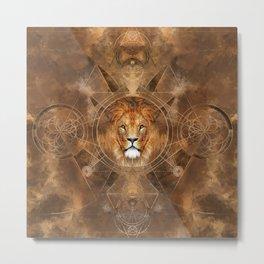 Lion Sacred Geometry Digital Art Metal Print