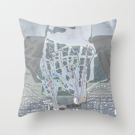 Snow King Resort Trail Map Throw Pillow