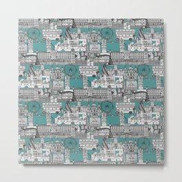 London toile blue Metal Print