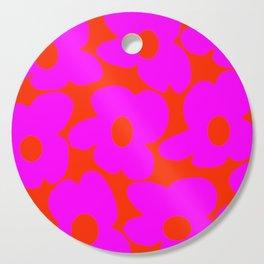 Pink Retro Flowers Orange Red Background #decor #society6 #buyart Cutting Board