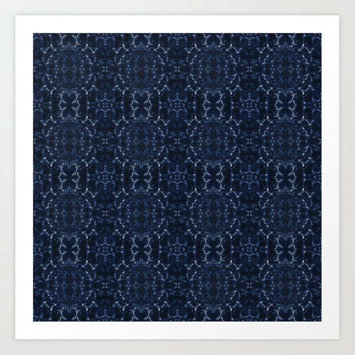 Indigo blue tie-dye pattern Kunstdrucke