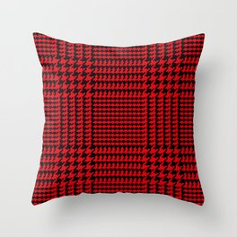 Red and Black Houndstooth Plaid Throw Pillow