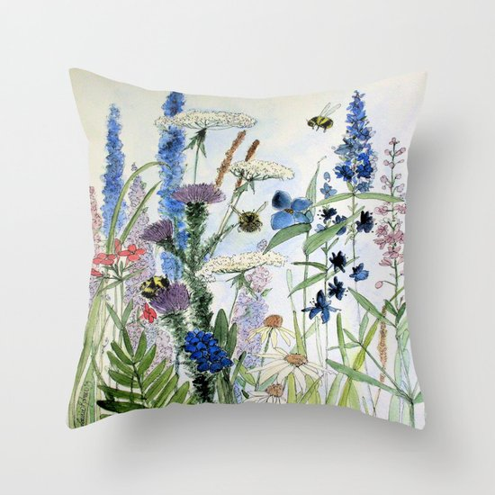 Wildflower in Garden Watercolor Flower Illustration Painting by betweentheweeds