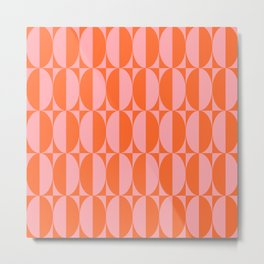 Mid Century Modern Geometric Half Oval Pattern 258 Orange and Pink Metal Print