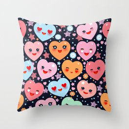 Funny Kawaii heart pink, orange, blue green, on black background Throw Pillow