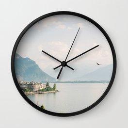 Dreamy Lake with Mountains | Fine Art Travel Photography | Lake Geneva in Switzerland Wall Clock