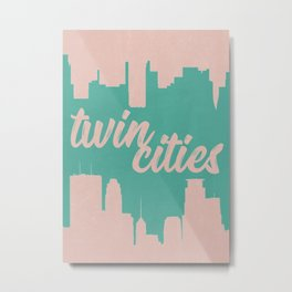 Minneapolis and Saint Paul Minnesota Twin Cities-Pink and Green Metal Print