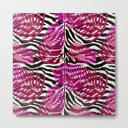 Zebra in cherry Metal Print