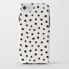 Modern Polka Dots Black on Light Gray iPhone 7 Tough Case