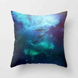 Mystic Dolphins Underwater Scenery Throw Pillow