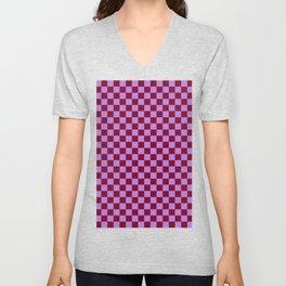 Lavender Violet and Burgundy Red Checkerboard Unisex V-Neck