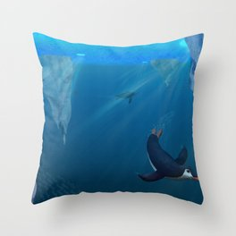 Penguins Swimming Under Ice Throw Pillow