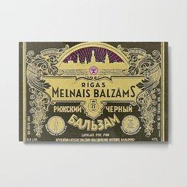 Vintage 1950 Rigas Melnais Balzams Wine Bottle Pink-Fushia Label Metal Print