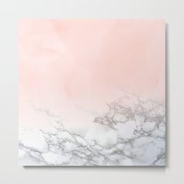 Rose Gold Pink Pastel Marble Luxe Fade II Metal Print
