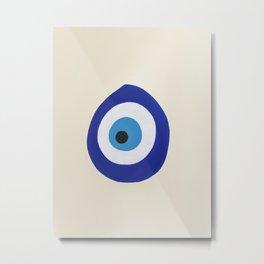 Blue Evil Eye Metal Print