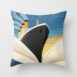 Bookship Throw Pillow