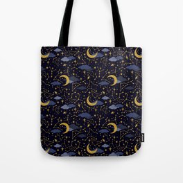 Celestial Stars and Moons in Gold and Dark Blue Tote Bag