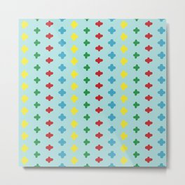 Colorful crosses stitches aligned on blue background Metal Print